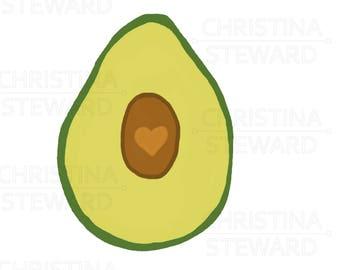 Avocado Clip Art, Food Clip Art, Avocado Love Illustration, PNG, Instant Download, Digital Download, Commercial Use, Digital File