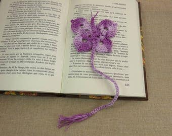 Bookmarks Butterfly bookmarks crochet, Parma violet bookmarks, jewelry book, bookmark, cotton, handmade bookmark