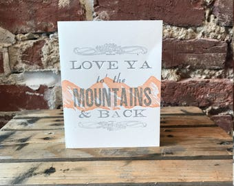 To the Mountains Letterpress Card