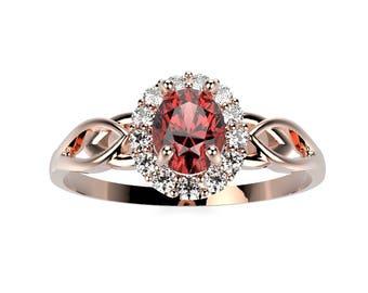 14k Rose Gold Garnet Ring Rose Gold Engagement Ring Gemstone Garnet Diamond Engagement Ring Garnet Engagement Ring January Birthstone