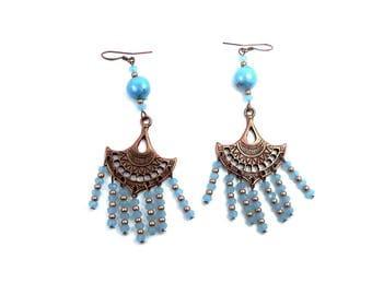 Earrings hippie chic copper fan light blue, glass beads