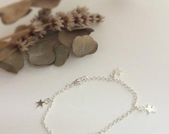 Star Bracelet, star charm bracelet, star charms, silver star bracelet
