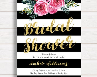 Bridal Shower Invitation, Gold Glitter Bridal Shower, Black White Stripes  Pink Floral, Gold