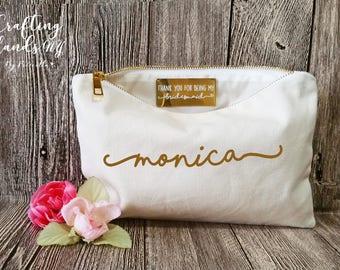 Thank you for being my Bridesmaid, Bridesmaid Gift, NATURAL COTTON Makeup Bags, Thank you Bridesmaid, Secret messag, Wedding thank you gift