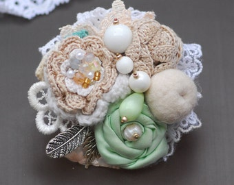Mint textile brooch Boho brooch Fabric Brooch Shabby brooch Boho jewelry Flower brooch Exclusive unique gift for women