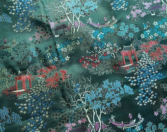 Vintage 1960's Japanese Silk Brocade Fabric, Green Background With Trees -  2.25 Yards
