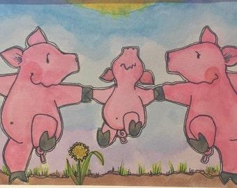 WEE...Wee..Wee! 5x7 (matted 8x10) Original Watercolor