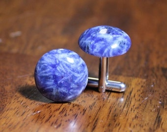 Sodalite Gemstone Cufflinks, Gem Stone Cuff Links