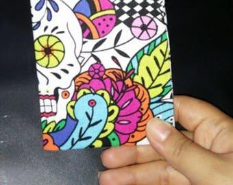 Sugar Skulls Pocket Notebook, Fabric Notebook Cover