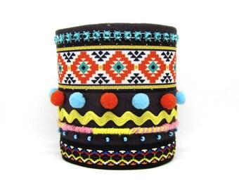 Tribal, ethnic Cuff Bracelet, Bohemian / Aztec bracelet