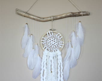 White Feather Wall Hanging-Feather Wall Hanging-Boho Decor-Dream Catcher Wall Hanging-Driftwood Hanging-Dreamcatcher-Bedroom Decor Teen