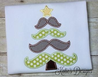 Boy's Christmas Shirt, Christmas applique shirt, Christmas, Boy's Christmas, Boy's shirt, Applique shirt, Mustache shirt, Mustache Tree, Boy