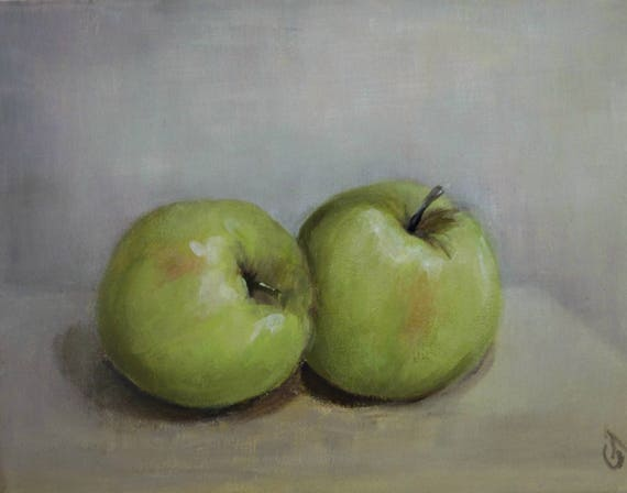 Green apple painting kitchen wall decor apples painting - Green apple kitchen decor ...