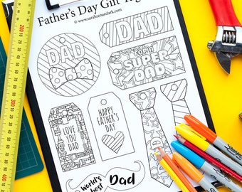 Father's Day Gift Tags – 12 DIY printable gift tags to color and make for Dad | Printable PDF coloring template | Father's Day gift idea