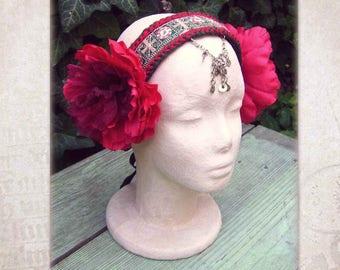 ATS Headdress, Tribal Belly Dance Headband, Tribal Bellydance Headpiece, Red Flowers Headpiece, Tribal fusion Headdress, Gypsy Headdress