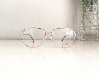 Gold Square Eyeglasses Vintage Baron glasses 80s glasses Large glasses Oversize eyeglasses Retro frames Hipster glasses nerd Spectacle frame