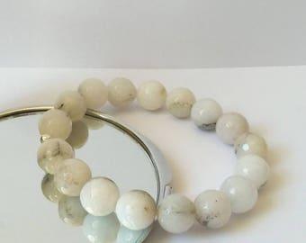 Agate Bracelet White Agate Jewelry Agate Stone Bracelet Gemstone Bracelet Gift For Her Stretch Bracelet Handmade Womens Bracelet