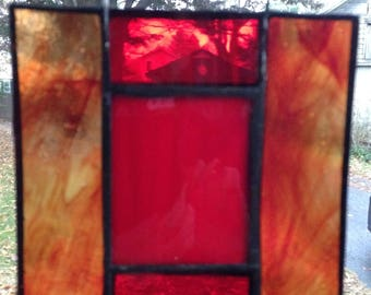 """5"""" red ladder stained glass window hanging"""