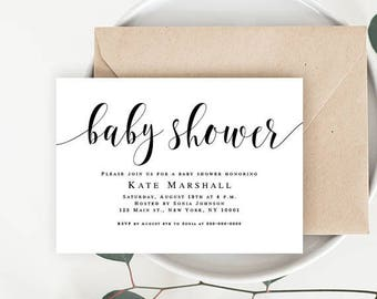 Editable baby shower invitation Neutral baby invitations Editable baby shower invite Simple baby shower invitation Rustic baby shower invite