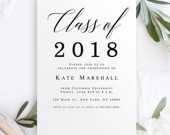 Invitation templates etsy class of 2018 invitation graduation party invitation template class of 2018 personalized college graduation announcement grad stopboris Gallery