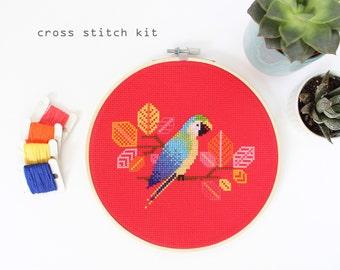 Blue Parrot -  Modern Counted Cross Stitch Kit - DIY cross stitch kit