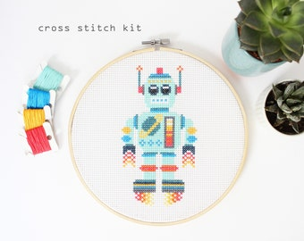 Space Bot - Easy Beginner cross stitch kit - Robot cross stitch pattern - Kids cross stitch kit
