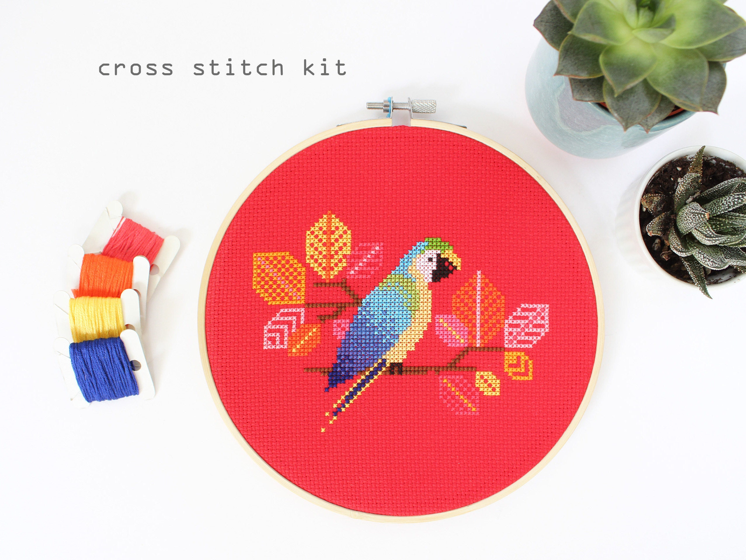 Blue parrot modern counted cross stitch kit diy