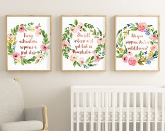 Alice in Wonderland, Print Quote, Set of 3 Prints, Rose Gold, Do you suppose she's a wildflower, Lewis Carroll, Wall art, Digital, Printable