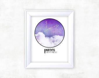 Zodiac Pieces Print   Pieces Zodiac   Zodiac Print   Constellation Art   Pieces Star Sign   Space Decor   Constellation Print
