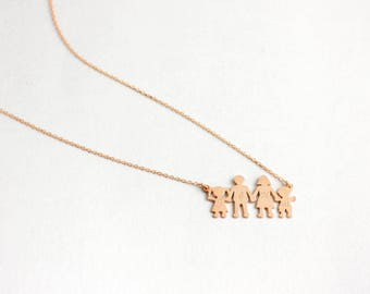 Family Necklace, Custom Family Necklace, Personalized Family Necklace, Kids Initials Necklace, Engraved Family Necklace, Mom Necklace SN0021