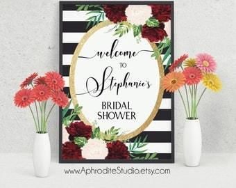Bridal shower welcome sign - Floral bridal shower sign - Printable bridal shower sign - Floral stripes welcome sign - Stripes bridal shower