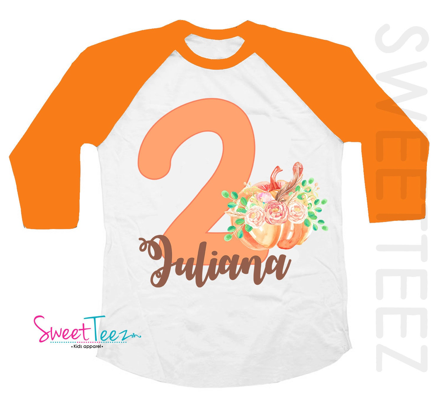Second Birthday Shirt Pumpkin Orange 2nd Outfit Personalized Kids Raglan Thanksgiving Swirly Two