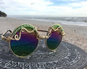 GOLD Green Rainbow Reflective Sunglasses, SPUNGLASSES, Hippie Boho Sun glasses Sunnies Unisex ~ Every pair is a piece of art FREE Shipping