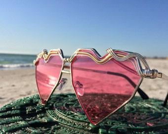 PiNK HEART Womens Sunglasses Glasses / SPUNGLASSES / Festival Coachella Music EDM Rave Party Eyewear Sunnies / Every pair is a piece of art