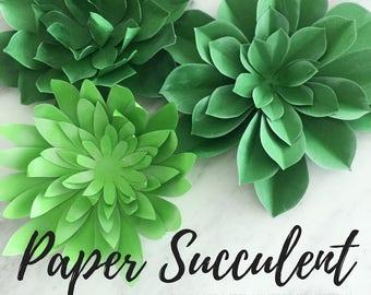 Paper succulent | plant template | succulent template | plate flower template | papercraft | paper garden | paper plants