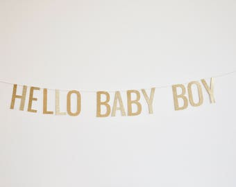 Hello Baby Boy - Baby Shower Banner, Pregnancy Announcement Banner, Birth Announcement