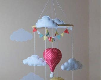 Design your own Hot air balloon baby mobile Polka dots / mini chevron