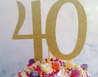 40 cake topper, cake topper, 40 glitter cake topper, 40 cake decoration, forty cake decoration, 40 party decor