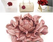 Real Leather Rose -> Make Your Own Custom Gift Old Dusty Rose Flower Bag Charm/Rose Brooch/Table Purse Folding Hanger Tabletop Hook & Charm
