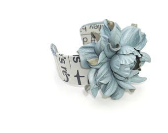 Genuine sky blue leather rose cuff bracelet, big flower, real leather covered open end  cuff,  unique leather flower jewelry, leather bangle