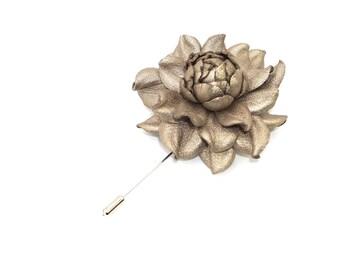 Metallic Tan Rose Wedding Boutonniere, Real Metallic Leather Tan Bronze Rose Lapel Brooch, Flower Buttonhole, Lapel Accessory, Grooms Pin