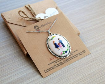Family portrait pendant, custom portrait, clay sculpture, customized, mother gift, family illustration, grandmother gift, sister gift