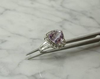 Morganite/White Topaz/Sterling Silver Ring (size 9)
