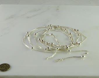 Sterling Chain and Ball Necklace 72""