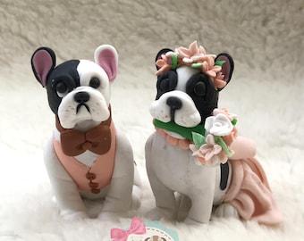 Clay Dog Cake Topper French Bulldog Wedding
