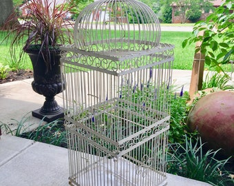 Large Metal Bird Cage//Double Door Bird Cage//Shabby Chic Decor//Vintage Bird Cage