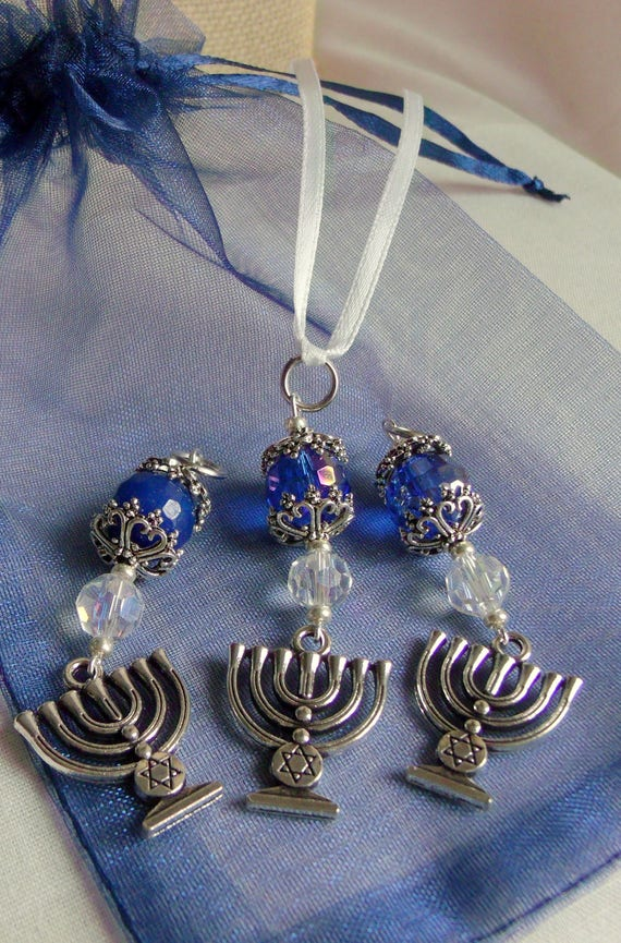 Hanukkah gift set  - judaic  party favors - Menorah  charm - ornaments - ribbon /clasp /set of 3 - memento - Zipper pull - blue gift