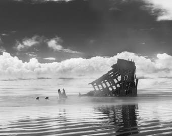Oregon Coast Photography Shipwreck Nautical Black and White Wreck of the Peter Iredale Pacific Northwest Ship Fine Art Print