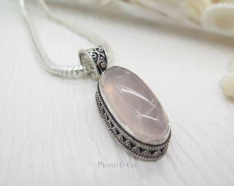 Filigree Setting Rose Quartz Sterling Silver Pendant and Chain