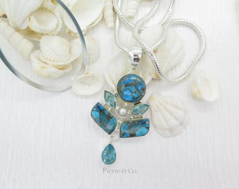 Tibetan Turquoise Blue Topaz and Pearl Sterling Silver Pendant and Chain